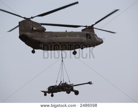 Helicopter With Underslung Howitzer, Singapore