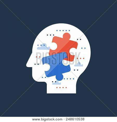 Find right solution, decision making, logic and critical thinking, simple solution, psychiatry and analytics, common ground and compromise, multitasking concept, jigsaw in head, vector icon poster