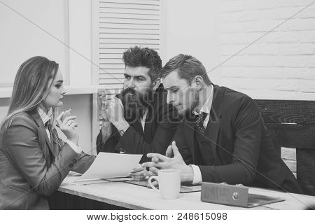 Interviewing. Woman Lawyer Explain Terms Of Transaction. Business Negotiations, Discuss Conditions O