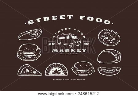 Stock Vector Set Of Fast Food Icons And Elements. Design In Thin Line Style With Rough Texture. Whit