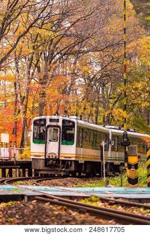 Autumn fall foliage with white train commuter in Fukushima Japan