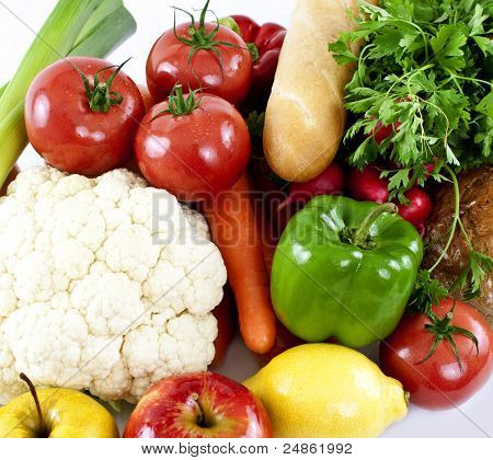 Vegetables isolated on white.