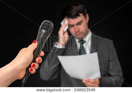 Nervous Man Is Sweating, He Afraid Of Public Speech