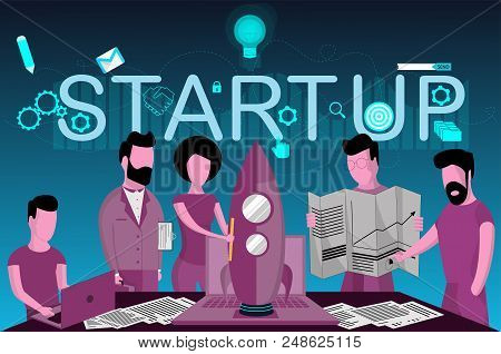 The Launch Of A New Business, People Are Building A Spaceship Rocket (form - Startup) In Flat Style.