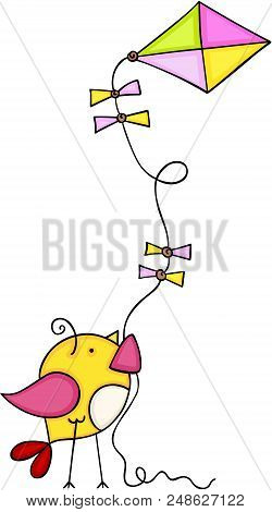 Scalable Vectorial Representing A Cute Bird Flying A Kite, Element For Design, Illustration Isolated