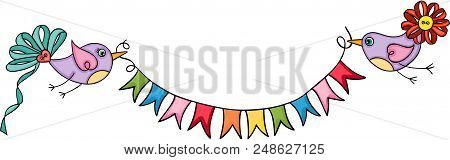 Scalable Vectorial Image Representing A Cute Birds Holding Flag Banner, Illustration Isolated On Whi