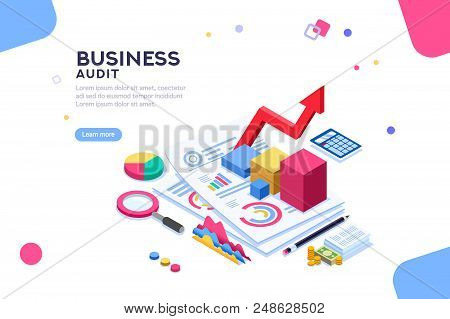Research Of Engineering Financial Audit. Business Examiner Of Documents. Isometric Report, Consultan