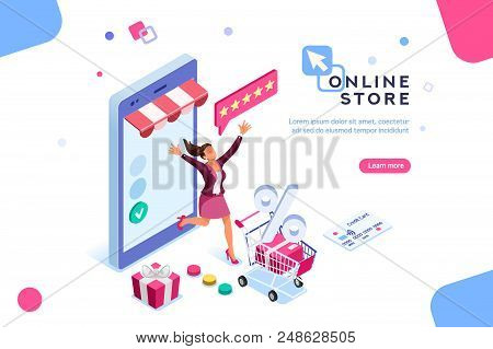 E-shop, Shopping Concept With Characters. Commercial Checkout Pay, Ecommerce Retail On Device For Cu