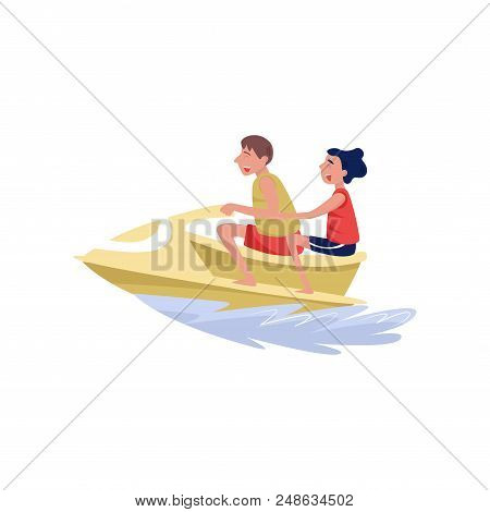 Young Man And Woman Riding On Water Jetski, Extreme Water Sport Cartoon Vector Illustration Isolated