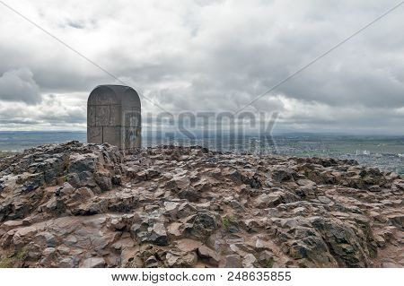 The Stone Landmark Monument At The Summit Of Arthur's Seat, The Highest Point In Edinburgh Located A