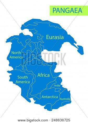 Pangaea Or Pangea. Vector Illustration Of Supercontinent That Existed During The Late Paleozoic And