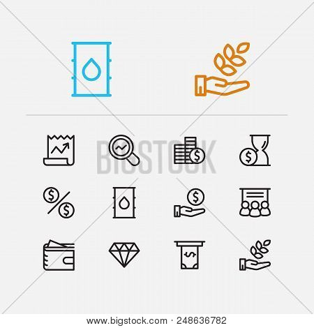 Economy Icons Set. Petroleum And Economy Icons With Staff Training, Hand Money, Agriculture Investme
