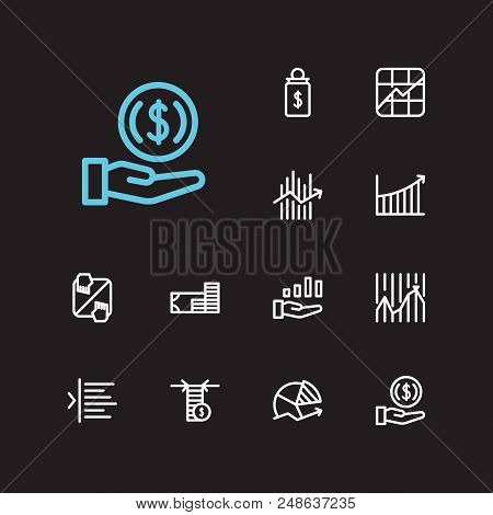 Finance Trading Icons Set. Invest Money And Finance Trading Icons With Limit Order, Trading Volume A