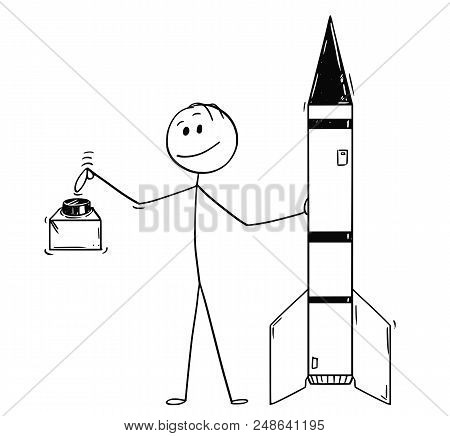 Cartoon Stick Drawing Conceptual Illustration Of Politician Leaning On Missile Or Military Rocket An
