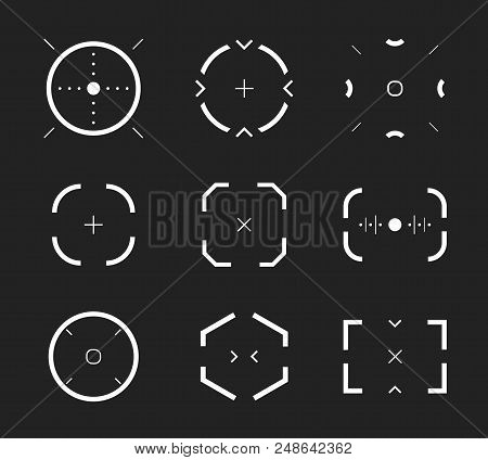 Sniper aim, bullseye, scope icons set, modern gamer collection. Shooting range, aim, target icon collection. Abstract design element, vector illustration on black background poster