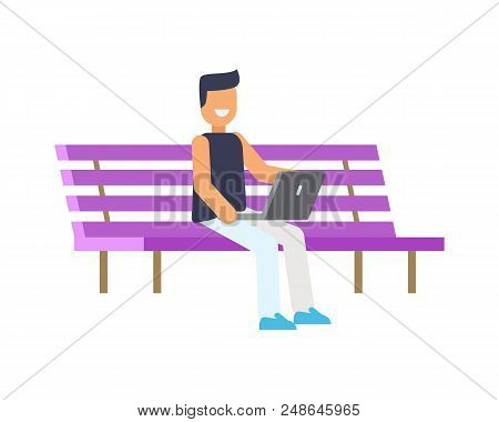 Happy Man Sitting On Lilac Bench, Colorful Poster Isolated On Bright Backdrop, Outdoor Rest Banner,
