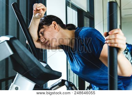 Woman tired after a hard workout