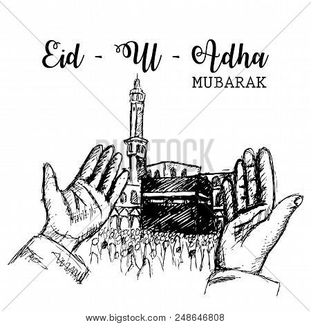 Muslim Community Festival Of Sacrifice, Eid-al-adha Celebration With Illustration Of Praying Hands.