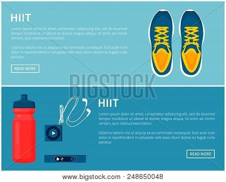 Hiit Sportswear, Sport Shoes And Helpful Gadgets, Blue Sneakers And Red Sport Bottle, Portable Music