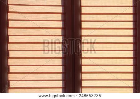 Modern Jalousie Day And Night Horizontal On Window. Room Design Element. Window Rollers. Double Syst