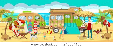 Summer Camp On Beach. Active Rest On Beach. Travel By Car Along Coast. Family Vacation On Beach. Pic