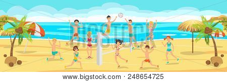 Sunny Day On Beach. Friends Play Volleyball On Sand. Friends On Beach. Summer Activities On Beach. H