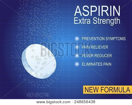 Water-soluble Pill Or Drug Ads, Painkillers, Aspirin. The Cure For Chest Pain, Headache, Joint Pain,