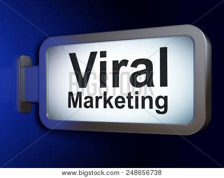 Advertising Concept: Viral Marketing On Advertising Billboard Background, 3d Rendering
