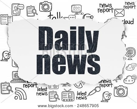 News Concept: Painted Black Text Daily News On Torn Paper Background With  Hand Drawn News Icons