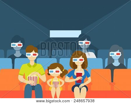 People In The Cinema Theater Watching Movie In 3d Glasses, Eating Pop Corn And Drinking Soda. Happy