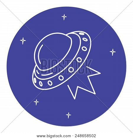 Ufo Spaceship Icon In Thin Line Style. Flying Saucer Symbol In Round Frame.