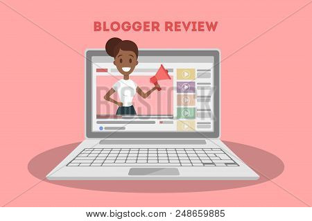 Young Beautiful Female Blogger Making A Review. Advertising Beauty Products Or Another Goods Online