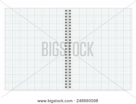 Open Letter Format Notebook With White Squared Pages, Vector Mock Up. Spiral Bound Cross Section Pap