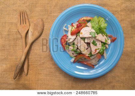 Vietnamese Pork Sausage Spicy Salad Thai Called Yum-moo-yor