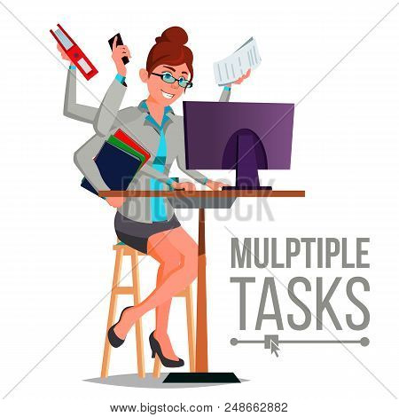 Multiple Tasks Business Woman Vector. Many Hands Simultaneously. Financial Occupation. Talented Work