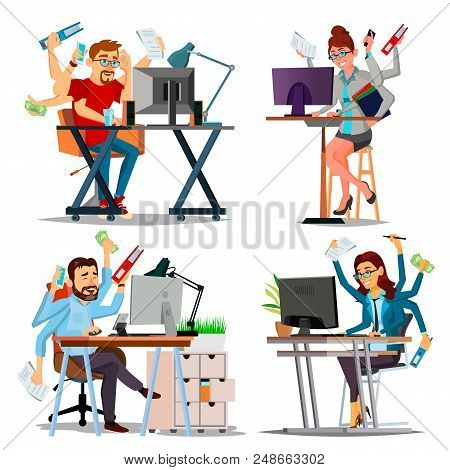 Multiple Tasks Business Concept Vector. Set Person. Many Hands Doing Tasks. Professional Occupation.