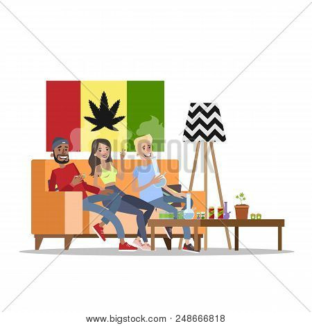 Three happy adults sitting on the couch and smoking weed or ganja. Bongs standing on the table. Drug addiction and unhelathy lifestyle. Isolated vector flat illustration poster