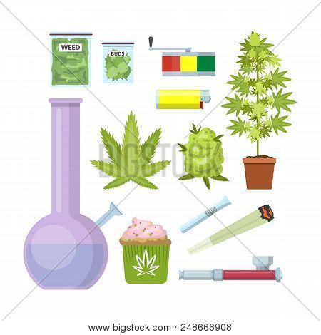 Smoking weed equipment. Bong, marijuana, pipe and others. Beautiful flat icon set. Isolated vector illustration poster