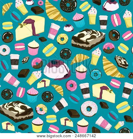 Sweets Seamless Pattern With Cheesecake, Brownie, Cupcake, Chocolate, Donut, Ice-cream, Croissant Et