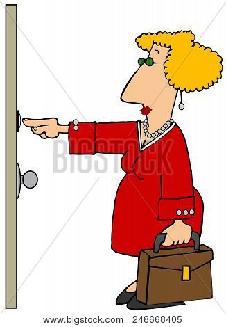 Illustration Of A Door To Door Sales Woman Carrying A Sample Case And Ringing A Door Bell.