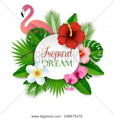 Tropical Dream Vector Paper Cut Illustration With Tropical Flowers, Palm Leaves And Pink Flamingo. T