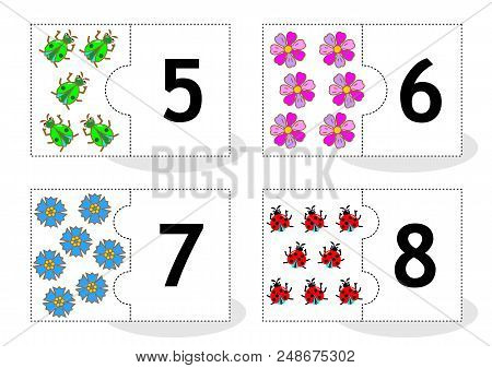 Learn Counting 2-part Puzzle Cards To Cut Out And Play, With Beetles, Flowers, Ladybugs, Numbers 5 -