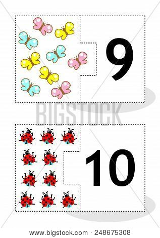 Learn Counting 2-part Puzzle Cards To Cut Out And Play, With Butterflies And Ladybugs, Numbers 9, 10