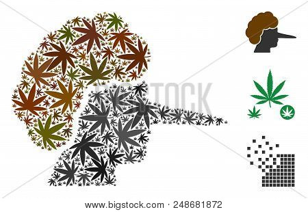 Lier Collage Of Marijuana Leaves In Variable Sizes And Color Tints. Vector Flat Marijuana Leaves Are