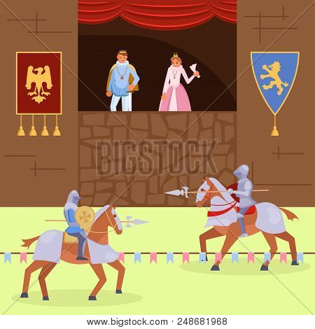 Medieval Knights Joust Scene. Vector Illustration Of Royal Family Looking At Fight Between Mounted K