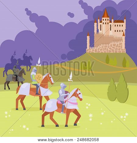Medieval Scene With Armored Knights On Horseback With Lances Coming Near To Castle Standing On Hill.