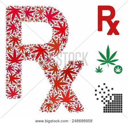 Rx Symbol Composition Of Weed Leaves In Various Sizes And Color Tones. Vector Flat Weed Elements Are