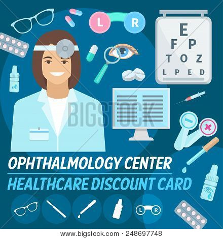 Ophthalmology Center Discount Card For Vision Checkup Or Medical Examination. Vector Design Of Ophth
