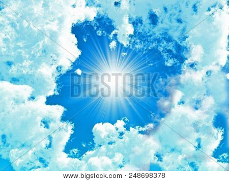 Blue sky with white clouds  - 3D rendering