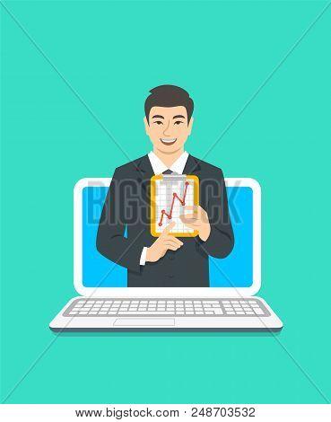 Online Business Coaching Concept. Vector Flat Illustration. Asian Man Business Coach On Computer Mon